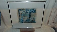 FLOWER IN A POT GERANIUM?? ENBOSSED PICTURE FRAMED AND SIGNED