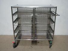 Commercial Stainless Steel Mobile Produce Medical Basket Rack Trolley - 8 Basket