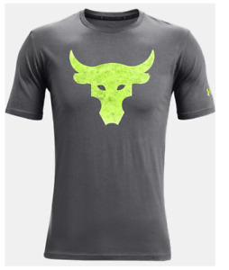 Under Armour Project Rock Tee Mens 2XL Authentic Bull Graphic Short Sleeve Grey