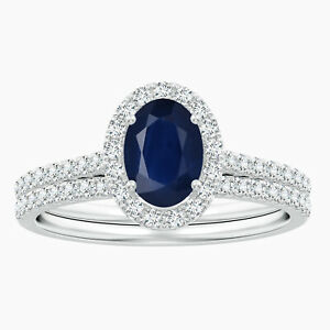 Classic Blue Sapphire and Simulated Diamond Bridal Set in 10K White Gold
