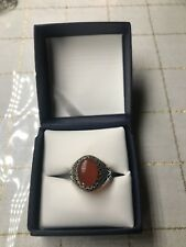 Men Ring STERLING SILVER 925 Natural  Red Yemeni AQEEQ Size 10