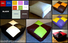 LARGE ZIPPY FAUX LEATHER BEANBAG FOOTSTOOL BEAN BAG CUBE FOOT STOOL WIPE CLEAN E