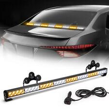 """35"""" 32 LED Amber&White Traffic Advisor Emergency Hazard Warning Strobe Light Bar"""
