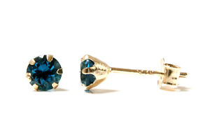 9ct Gold London Blue Topaz Studs 4mm earrings Gift Boxed Made in UK