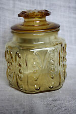 """VTG Amber Imperial Atterbury Scroll Glass Canister -6 1/2"""" Tall w/Lid Candy Jar"""