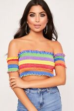 Women Rainbow Sheering Boob Tube Gather Smoken Strapless Bandeau Ladies Crop Top
