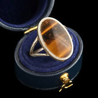 Antique Vintage Deco Mid Century Sterling Silver Taxco Tigers Eye Ring Sz 7.75