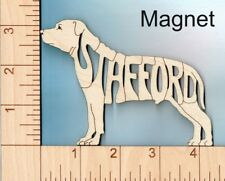 "Staffordshire Bull Terrier ""Stafford"" Dog laser cut and engraved wood Magnet"