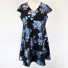 NEW Macy's Alfani Dress V-Neck Cap Sleeve Flowers Print Black Zip Back 20W /3X