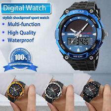 Men Solar Power Sport Dual Time Alarm LED Digital Waterproof Analog Quartz Watch