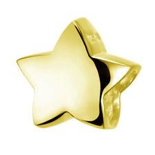 MATERIA Damen Beads Anhänger Stern Gold Schmuck Charm 925 Silber für Armband