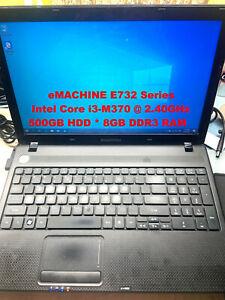 "eMACHINE E732 Series_Intel Core i3-M370@2.40GHz_500GB HDD_8GB RAM_15.6"" Screen"