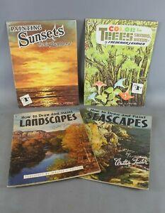 Set of 4 x WALTER T FOSTER Vintage Landscape Sunsets Instruction Art Book - EHB