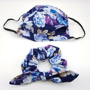 Floral Scrunchy and Face Mask set Hair Scrunchies with Bow Washable Cotton