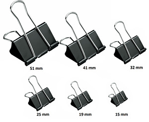 Bulldog Foldback Clips Metal Binder Grip Paper Clip Fold Back 15mm-51mm 6 Sizes