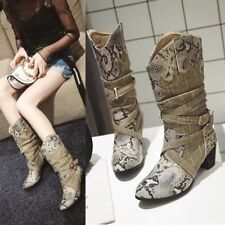 Women's Snake Pattern Slouch Boots Round Toe Mid-Calf Bootie Chunky Heels Shoes