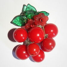 ARTIST Made CHERRY PIN BROOCH Glass Leaves Red LUCITE Dangles Rhinestone Center