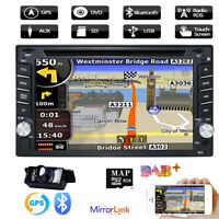 Double 2 DIN Car DVD CD Audio video Player Stereo Map GPS Radio SWC Head Unit