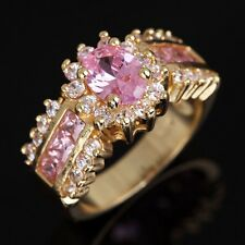 Jewelry Size 7 Pink Topaz 18K Gold Filled Emerald Cut Wedding Rings For Womans