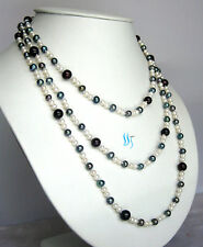 """52"""" 3-9mm Multi Color Freshwater Pearl Necklace White Peacock Black Jewelry U"""