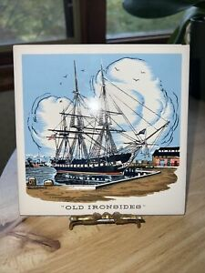 """Screen Craft Old Ironsides West Yarmouth  Mass. Wall Tile 6"""" x 6"""" Picture Decor"""