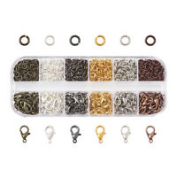 1Box 12mm Zinc Alloy Lobster Claw Clasps with 5mm Brass Open Jump Rings 6 Colors