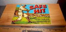 Vintage Vegetable Label Wood wall hanger SAFE HIT, Texas, great graphic 12 x 5.5