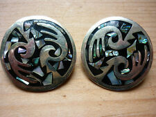 STUNNING ALPACA HAND MADE SILVER ABALONE SHELL CLIP ON EARRINGS VGC