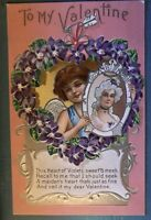 ~Cupid in Heart~Holding Picture of Pretty Lady Antique Valentine  Postcard-p448