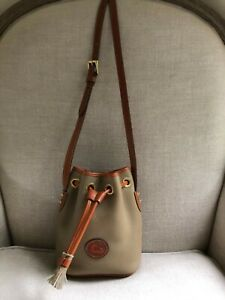 Dooney Bourke Vintage Mini Drawstring AWL Crossbody Bucket Beige Tan Leather NEW