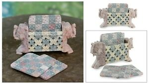 Marble Coaster Tea Coffee Set Handmade Checked Elephant Design Home Decor H4605