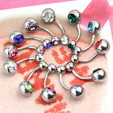 Lot Of 10 Mix Color Stainless Crystal Ball Barbell Bar Navel Belly Button Rings