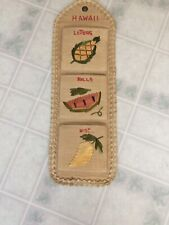 Hawaii Woven Mail Holder Wall Organizer Letters Souvenir Kitschy Bills Vintage