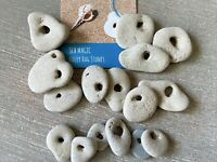 15 Natural Hag Stone Assortment 0.5-1.50 in. Holed Raw Wiccan Holey rocks, B3