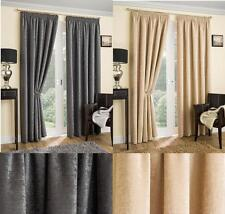 SUPER THICK BONNIE PENCIL PLEAT CHENILLE LINED CURTAIN - THERMAL INTERLINING