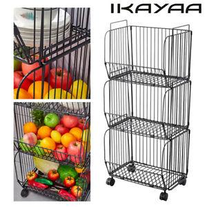 37'' ikayaa 3 Tier Metal Wire Fruit Vegetable Basket Rack Kitchen Storage Q0Z7