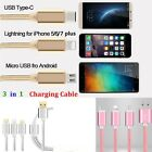 3 in 1 Type C micro braided USB cable Charging cord For iphone Samsung Type-C