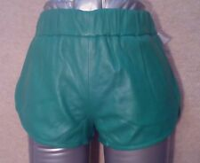 MISS Womens GREEN Real Lambskin LEATHER SHORTS Size XS Waist w24ins w61cms
