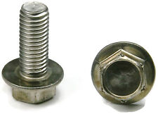 Stainless Steel Hex Cap Flange Bolt FT Metric M6 x 1.0 x 16M, Qty 10