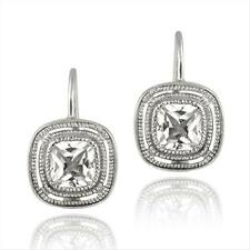 925 Silver CZ Square Leverback Earrings