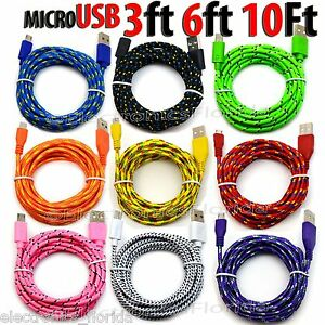 Braided Micro Usb data sync cable cord 3 / 5 / 10 FT for Android Cell Phones LOT