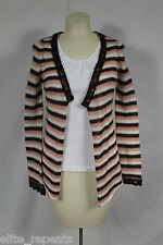 NWT DEX Anthrologie Pink, Brown, Striped Open Mohair Blend Cardigan Sweater S