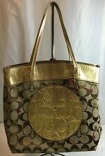 Coach Logo Canvas Metallic Gold Secret Admirer Laura Tote Bag $300 Authentic