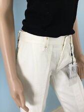 NWT Authentic Gucci Jeans Pants Women's Ivory Gold Stud Jean Crop Capri 42 6 S