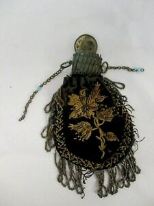 ANTIQUE VICTORIAN SMALL BLACK VELVET BEADED METAL ACCORDION TOP COIN PURSE