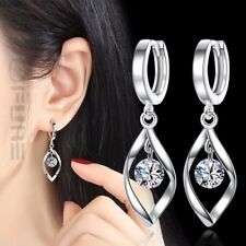 Women's 925 Sterling Silver Long Round Crystal Twisted Fashion Drop Earrings