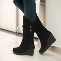 Plus Size Womens Ladies Suede Mid-calf Wedge increased Casual Boots 7 Colors