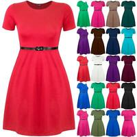 Plus Size Ladies Womens Skater Dress Belted Flared Swing Plus Size Midi Dresses