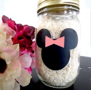 12 x Minnie Mouse Chalkboard Vinyl Stickers Labels Party Wedding Jar Accessories
