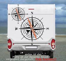 Kompass Windrose, Maritimer Womo - Aufkleber in TOP Qualität  650mm   2Farbig